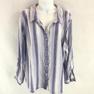 Erika Lavender and Purple Linen-Like Top 3X